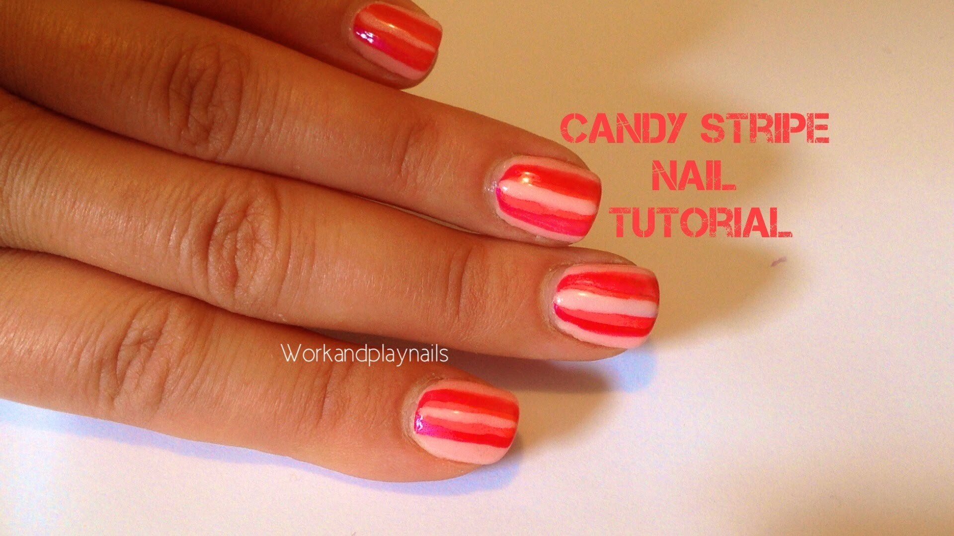 Candy stripe nail art - Work And Play Nails