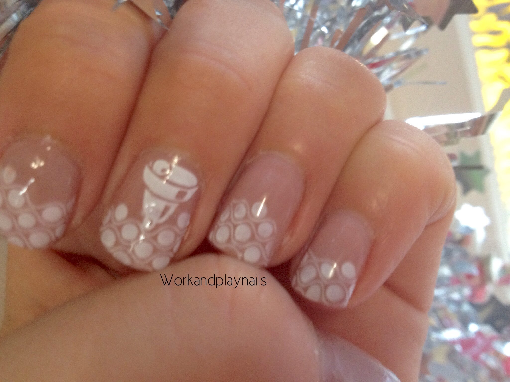 Christmas snowflakes with a bell nail stamping tutorial work christmas snowflakes with a bell nail stamping tutorial work and play nails prinsesfo Image collections