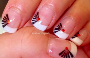 Japanese fan nail art featuring Born pretty Hexagon Glitter (review and tutorial)