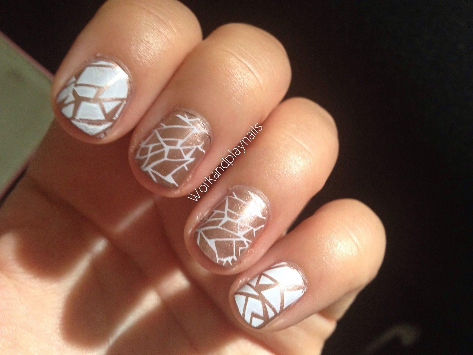 Metallic Cracked Up Nail Tutorial Nail Stamping Work And Play Nails